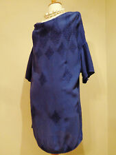 """GHOST BLUE EMBROIDERED LONG TUNIC TOP SZ S 44"""" CHEST"""