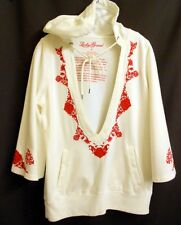 Lucky Brand White Coton Pullover Top Hoodie Red Embroider 3/4 Bell Slvs S / M