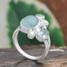 925 SOLID STERLING SILVER PAPULAR AQUAMARINE EXCLUSIVE RING 4.55g DJR10238 SZ-7
