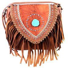 Montana West~Turquoise Stone Fringed Shoulder Bag~Studs~Western Tooled Purse~BRN