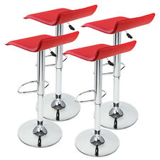 New 4 Pcs Of Red Modern Bar Stool Swivel Adjustable Chair Counter Pub Barstools