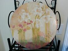 LOVELY Storage Box with Lid Daffodil Floral Design Fabric Strap - 12in Diameter