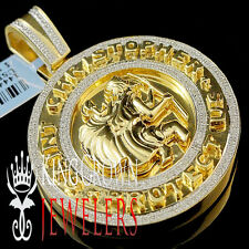 Mens Diamond Saint Christopher San Cristobal Pendant Medallion 10K Gold Finish