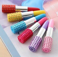 4×Cute Lipstick Crystal Bling Ball point Pen Lady Jewelry Stationery Party Favor