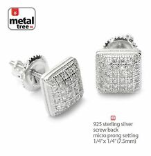 Men's Hip Hop Rhodium Plated Domed Block Square Screw Back Stud Earring 459 S