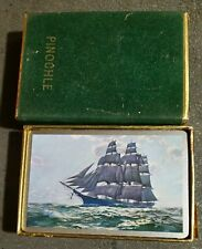 CONGRESS 606 SERIES PLAYING CARDS 4 PINOCHLE RARE TALL SHIPS FACE SAILING VESSEL