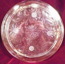 Vintage Sunflower Pink Depression Glass Cake Plate Jeannette A Beauty NICE COND