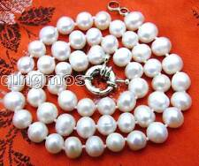 """SALE 7-8MM White Natural Freshwater PEARL 17"""" NECKLACE-nec5613 Free shipping"""