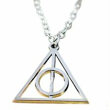 Silver Incircle Necklace - Circle Triangle Pendant Harry Potter Hallows Charm