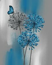 Blue Gray Modern Floral Butterfly Decor, Blue Bedroom Bathroom Wall Art Picture