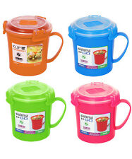 4 Sistema Microwave Soup To Go Mugs Various Colours Lunch Snack BPA free Plastic