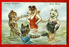 CAT CATS AND DOG BY ELL VINTAGE POSTCARD 299