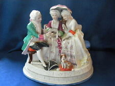 Antique Rare German Porcelain Conta Boehme inkwell 2 ladies, gentlemen and dog