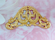 BRASS Victorian Scroll Cartouche Plaque Stamping  ~ Jewelry Finding (C-904)