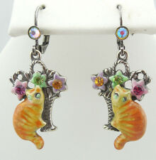 KIRKS FOLLY TIGER RED CAT LEVERBACK EARRINGS SILVERTONE CUTE KITTY~NEW RELEASE~~