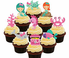 Mermaids & Sea Creatures, 36 Edible Cup Cake Toppers, Fairy Decorations Standup