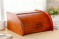 Wooden Bread Box Apollo Roll Top Bin Storeage Loaf Kitchen Large - Dark Orange