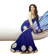 NEW DESIGNER INDIAN SAREE FABRIC GEORGETTE SAREE PARTY WEAR BLOUSE