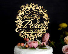Personalized Wedding Cake Topper Rustic Laser Cut Wood Custom Cake Topper #142