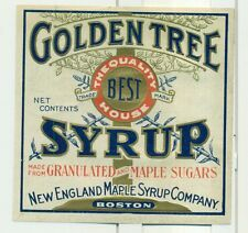 1920's Golden Tree Syrup Label - New England Maple Syrup Co. Boston,MA