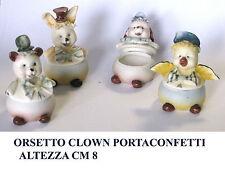 Bomboniera bimbo scatolina orsetto clown portaconfetti in porcellana h8 sogg.ass