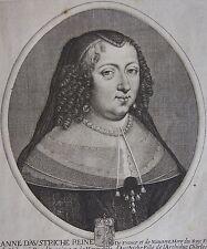 ANNE D'AUSTRICHE REINE DE FRANCE ET DE NAVARRE.... Gravure originale vers 1655.