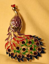 Lovely Violet Enameled Colorful Rhinestone Tail Peacock Silvertone Brooch Pin