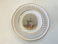 Antique Czech Pirkenhammer Porcelain Plate w/ Painted Flute Player Flutist Dec.