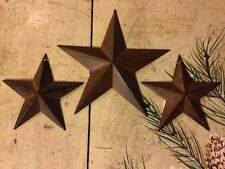 "(Set of 3) RUSTY BLACK BARN STARS 8""/5.5"" PRIMITIVE RUSTIC COUNTRY DECOR ANTIQUE"