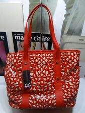 Brand new Sondra Roberts satchel tote red patent/leather lazer cut - $265.00