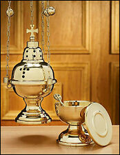 Eastern Rite Brass Hanging Incense Censer with 12 Bells and Boat Set