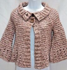 Free People Anthropologie Wool Blend Chunky Bell Sleeve Open Sweater Cardigan XS