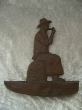 Vintage Wood Folk Art Wall Carving Plaque Picture