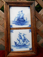 PAIR OF OLD BLUE & WHITE DELFT TILES FEATURING OLD SHIPS IN OAK FRAME BY MAKKUM