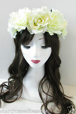 Large Ivory White Rose Flower Sugar Skull Headband Costume Hair Crown Boho Q29
