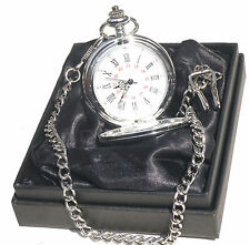 Personalised Engraved Silver Pocket Watch/Chain black Gift Box Wedding Gift