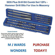 SDS Plus Drill Bit Combi Set 12Pc - Hammer Drill Bits For Use In Masonry