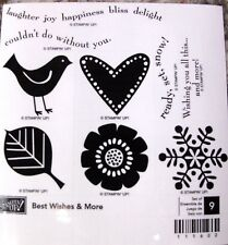 "SUM STAMPIN' UP!""BEST WISHES AND MORE"" 9 WOOD STAMPS FUN, FUN, NIB RET"