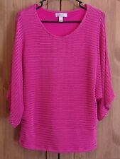 Dressbarn Pink Ribbed Knit Women's Blouse Top Size L Shell With See Thru Tunic