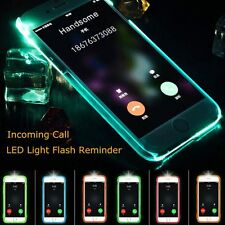 For iPhone 6 6S  TPU Incoming Call LED Flash Blink Clear Back Case Blue Color