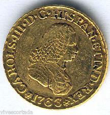 Carlos III 2 Scudi 1763 Popayan N.J. Oro @ Bella @