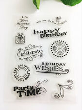 Happy birthday! Transparent Clear Rubber Stamp Sheet Cling Scrapbooking DIY #26