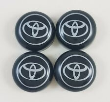 4/SET BLACK BOLT COVER + TOYOTA DECAL LICENSE PLATE FRAME SCREW CAP CAR