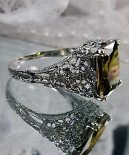 3ct Green Gemstone Sterling Silver Antique-Victorian Design Filigree Ring Size 5