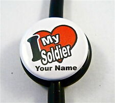 ID STETHOSCOPE NAME TAG I LV MY SOLDIER ,NURSE, DOCTOR, TECH, MEDICAL, FLOWER