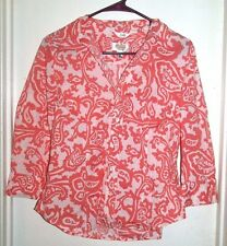 Talbots Salmon Paisley Button Front L/S Stretch Top Shirt S Small