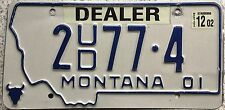 FREE UK POSTAGE American 2001 Montana Dealer USA License Number Plate 2 77 4
