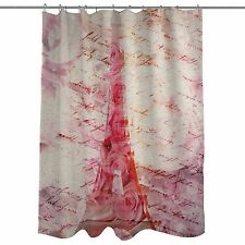 ONE BELLA CASA, OLIVER GAL, LOVE LETTERS, SHOWER CURTAIN EIFFEL TOWER ROSE PINK