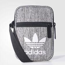Adidas Mini Hombro Bolso Estilo Mensajero Pequeño (Negro/Gris) 100% Original!