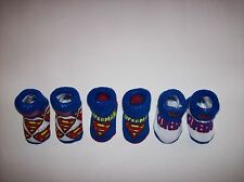 Superman Crib Shoes Booties Socks 3 Pair Sz 0-12 Mos Red Wht Blu DC Comics NIB